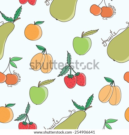 Vector seamless pattern with summer fruits - stock vector