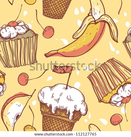 vector   seamless pattern with sweets and fruits - stock vector