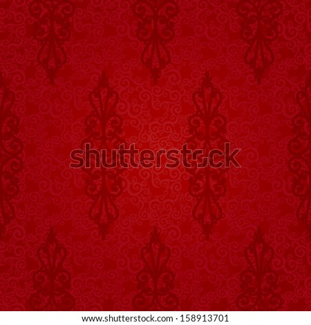 Vector seamless pattern with swirls and floral motifs in retro style. Red background in Victorian style. - stock vector