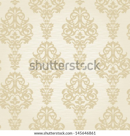 Vector seamless pattern with swirls and floral motifs in retro style. Victorian background of light color. - stock vector
