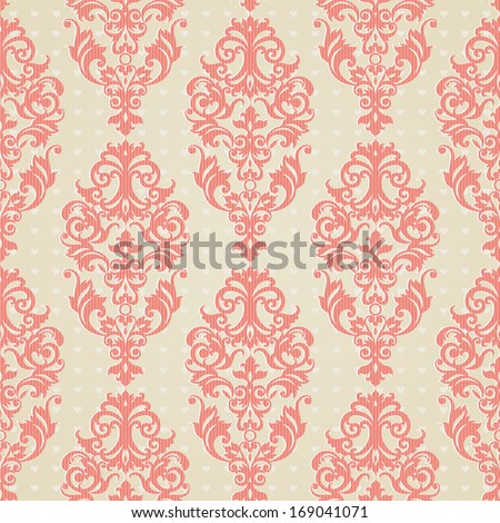 Vector seamless pattern with swirls and floral motifs in retro style. Victorian background of light pink color. It can be used for wallpaper, pattern fills, web page background, surface textures. - stock vector