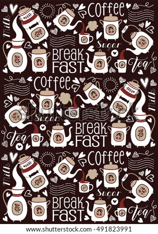 Vector Seamless Pattern with Tea, Coffee and Hot Drink theme.  Breakfast and Dairy Background.