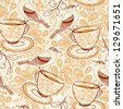 vector seamless pattern with tea cups, birds and berries in a vintage style - stock vector