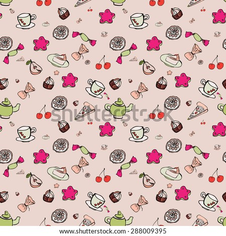 Vector seamless pattern with teapots, cups, cherry,cakes. Hand drawing vintage texture. Retro tea background. - stock vector