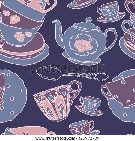 Vector seamless pattern with teapots, teacups, spoon.  Retro tea background in vivid colors. - stock vector