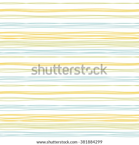 Vector seamless pattern with thin stripes hand drawn in bright orange, olive green and blue colors. Dynamic striped print for spring summer sportswear, fashion, decoration. - stock vector