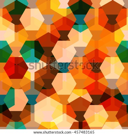 Vector seamless pattern with transparent sparkling pentagons and hexagons. EPS8. Color palette inspired by amber - stock vector