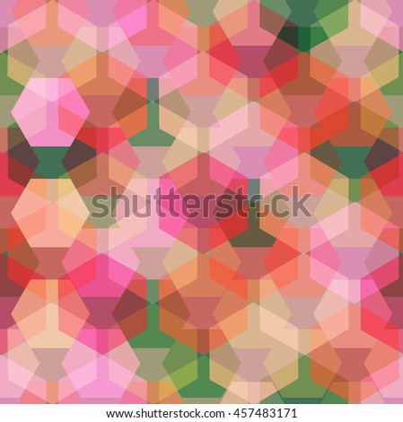 Vector seamless pattern with transparent sparkling pentagons and hexagons. EPS8. Color palette inspired by peony flowers.  - stock vector