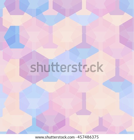 Vector seamless pattern with transparent sparkling pentagons and hexagons. EPS8. Tender pastel colors - stock vector