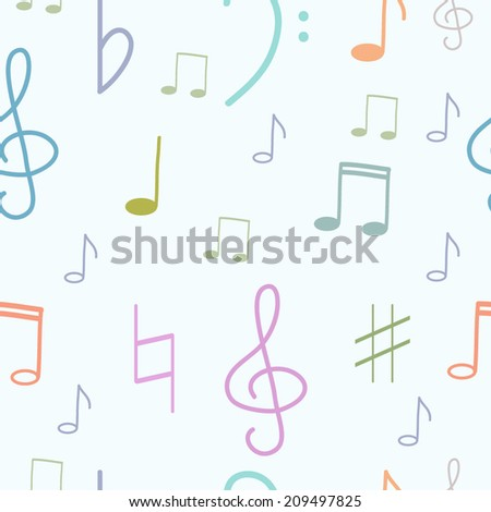 Vector seamless pattern with treble-clef and notes - stock vector