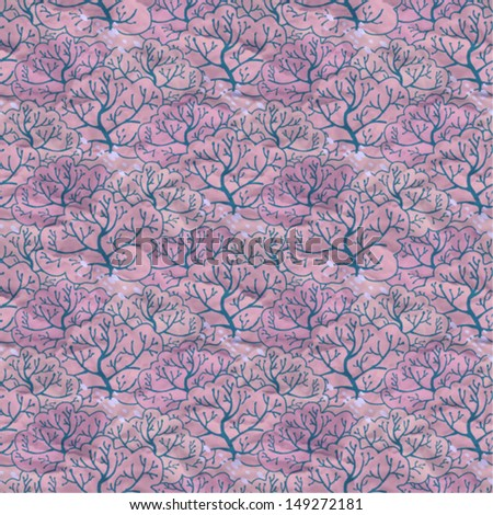 Vector seamless pattern with trees, eps10 - stock vector