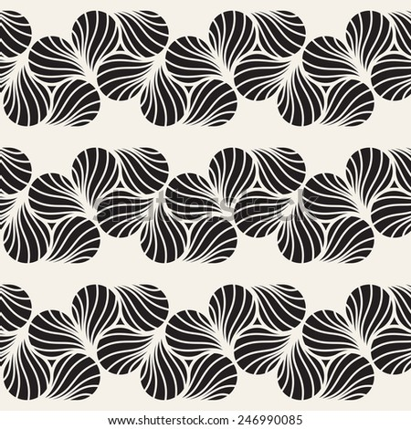 Vector seamless pattern with triple yin and yang. Modern stylish texture. Monochrome repeating abstract background with stripes from ornate petals - stock vector