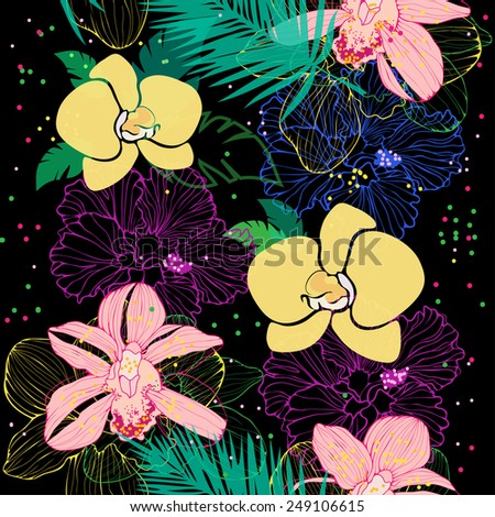 vector seamless pattern with tropical flowers - stock vector