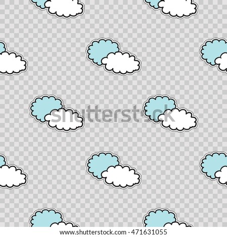 Vector seamless pattern with two clouds. Modern doodle pop art background formed badges, stickers or pins.