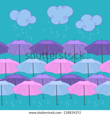 Vector seamless pattern with umbrella