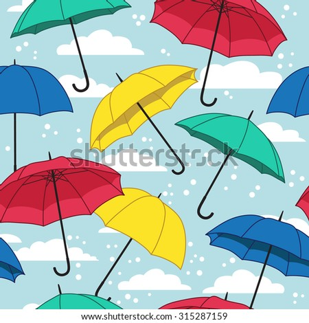 vector seamless pattern with umbrellas