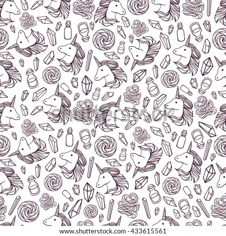 Vector seamless pattern with unicorns and magic items.