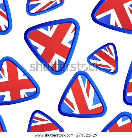 Vector seamless pattern with Union Jack flag elements for textile prints or web backgrounds. Also for travel and educational themes, banners and brochures.