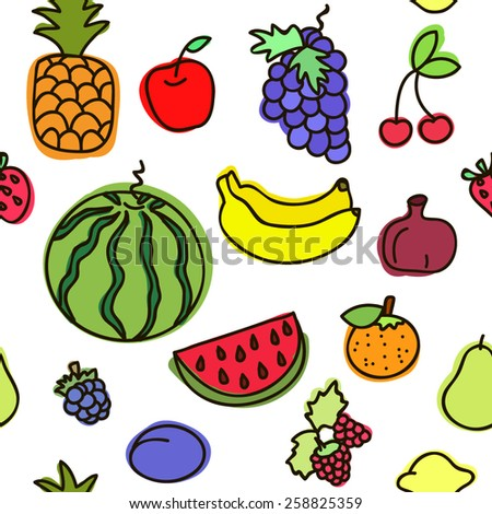 Vector seamless pattern with various fruits on white.