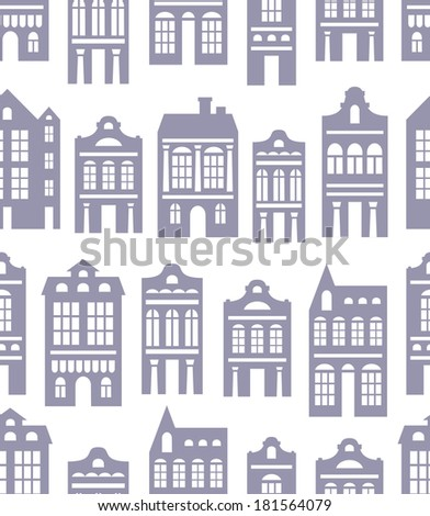 vector seamless pattern with various silhouettes of  European houses - stock vector