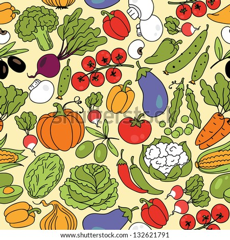 stock vector vector seamless pattern with vegetables can be used for wallpaper web page background wrapping 132621791 - Каталог — Фотообои «Еда, фрукты, для кухни»