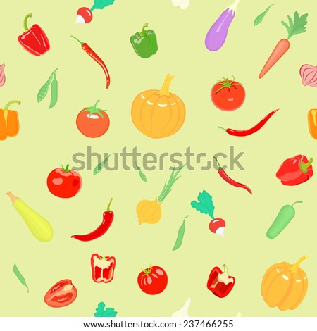 Vector seamless pattern with vegetables. Can be used for wallpaper, web page background, wrapping, textile and scrapbook. - stock vector