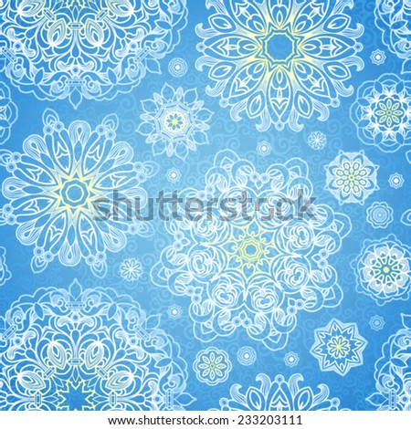 Vector seamless pattern with Victorian snowflakes. Blue ornate element for New Year's and Merry Christmas design. Vintage ornamental lace background. Elegant winter lacy decor. - stock vector