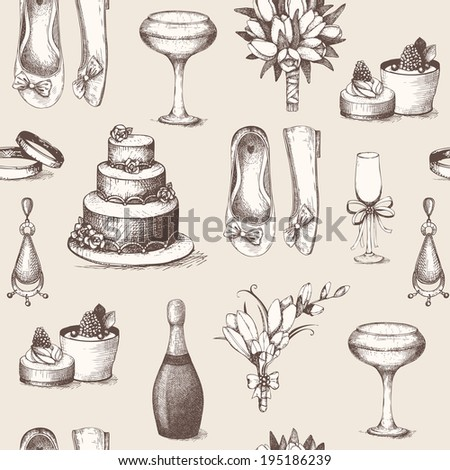 Vector seamless pattern  with vintage ink hand drawn wedding illustration.  - stock vector