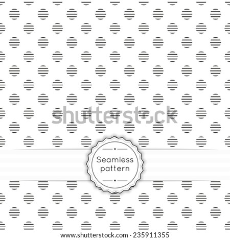 Vector seamless pattern with vintage old banner and ribbon. Repeating geometric shapes, circle, dot, polka - stock vector