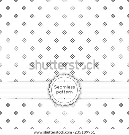 Vector seamless pattern with vintage old banner and ribbon. Repeating geometric shapes, diamond, cross, rhombus, diagonal dotted line - stock vector