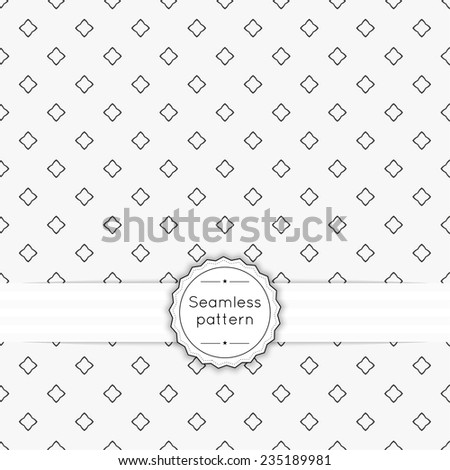 Vector seamless pattern with vintage old banner and ribbon. Repeating Geometric shapes, diamond, cross, rhombus - stock vector