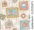 Vector seamless pattern with vintage wallpapper and pictures in frames - stock photo