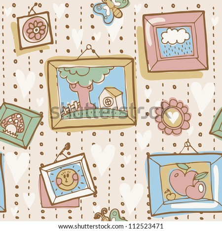 Vector seamless pattern with vintage wallpapper and pictures in frames - stock vector