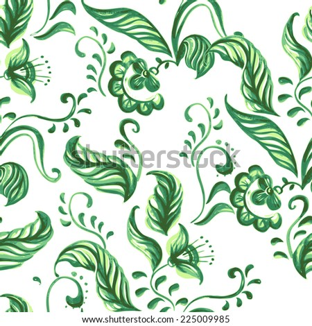 Vector Seamless pattern with water-colour flowers. Painterly floral background - stock vector