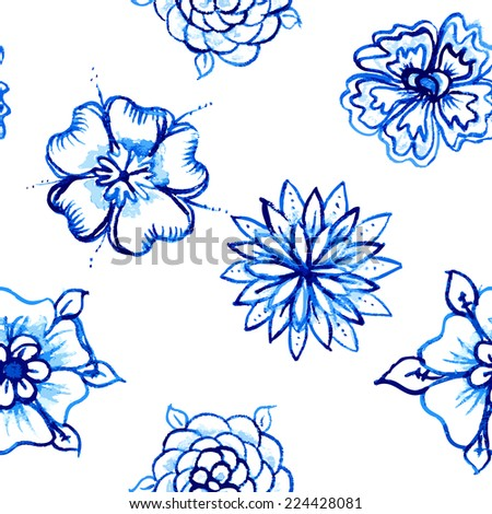 Vector Seamless pattern with Watercolor Flowers - stock vector