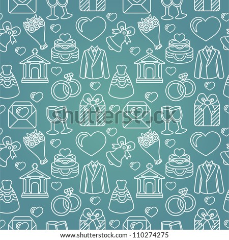 Vector seamless pattern with wedding icons -blue  background - stock vector