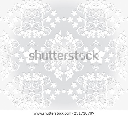 Vector seamless pattern with white decorative flowers,plants,polka dots with shadow on the grey background - stock vector