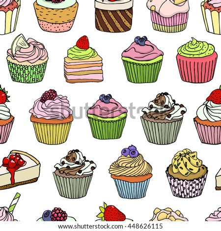 Vector seamless pattern with yummy hand drawn desserts. Beautiful design elements for pastry shops, coffee houses, cafes or any other business related to the catering. - stock vector