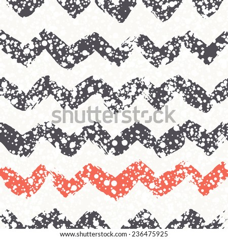 Vector seamless pattern with zigzag. Christmas background with paint brush strokes. Graphical colorful texture with snowy covering. - stock vector