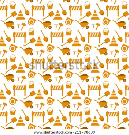 vector seamless pattern working tools background - stock vector