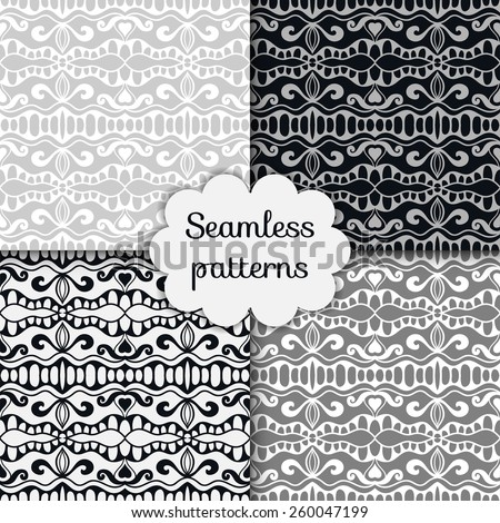 Vector seamless patterns set, hand drawn artwork. Geometric stylish background. - stock vector