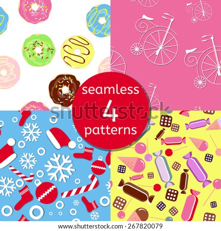 Vector seamless patterns set. Sweet baby  colorful wrapping paper set with donuts, candies, cookies, ice-cream, bicycles and snowflakes - stock vector