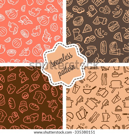 Vector seamless patterns set with food icons  for your design. - stock vector