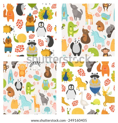 Vector seamless patterns with cute animals. Collection zoo backgrounds with cat, dog, owl, rabbit, bear, panda, monkey, alligator, bird,unicorn, lion, koala an more - stock vector