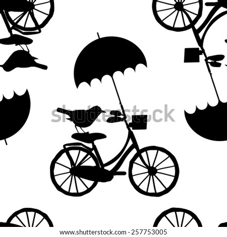 Vector seamless patterns with the bike, bird and umbrella-1 - stock vector