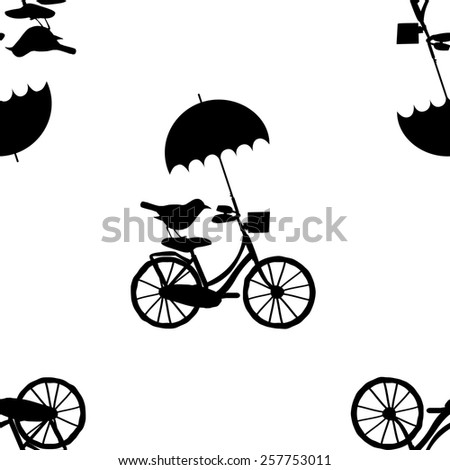 Vector seamless patterns with the bike, bird and umbrella-2 - stock vector