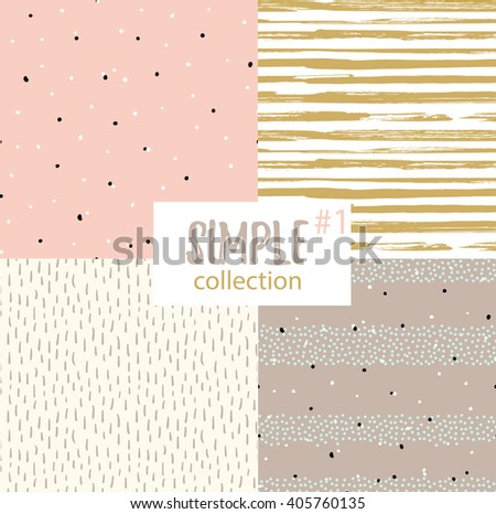 Vector seamless patterns with universal simple textures. Set of seamless backgrounds for fabric, gift wrap and wallpaper. - stock vector