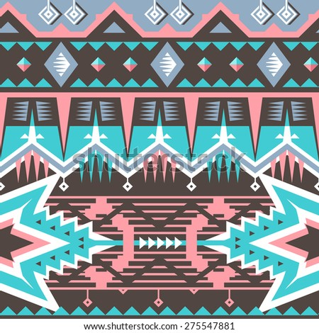 Vector Seamless Pink / Blue Tribal Pattern. Geometrical Ethnic Print Ornament with Triangles, Stripes and Rhombus - stock vector