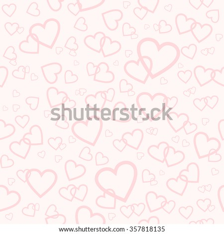 Vector seamless pink pattern with random hearts. Valentines day or wedding background. - stock vector