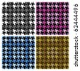 Vector seamless plaid houndstooth pattern in four colorways. - stock vector